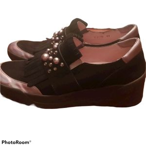 Wonders Bedazzled Suede Loafers